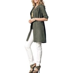 CAbi Olive Green Got You Covered Shirt Dress